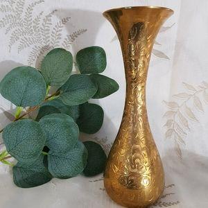 Solid Brass Floral Engraved Vase